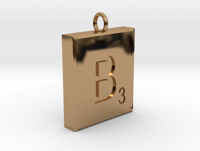 Scrabble Charm or Pendant B blank back Pendant in Polished Brass