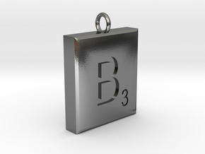 Scrabble Charm or Pendant B blank back Pendant in Polished Silver