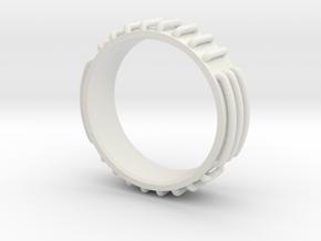 Sci-fi Ring Concept Size 10 in White Natural Versatile Plastic