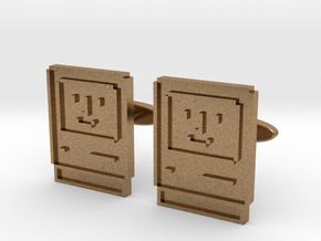 Happy Computer Cufflinks in Natural Brass
