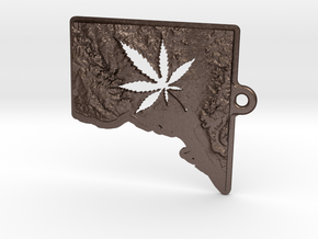 Washington DC w/pot leaf key fob 2 in Matte Bronze Steel