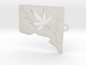 Washington DC w/pot leaf key fob 2 in White Natural Versatile Plastic