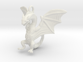 Dragon Pendant in White Natural Versatile Plastic