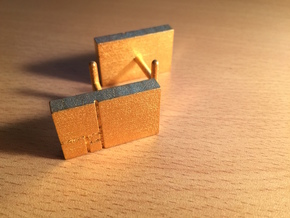 Golden Rectangle Cufflinks in Polished Gold Steel