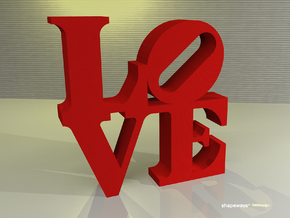 The Love Sculpture  in Red Processed Versatile Plastic