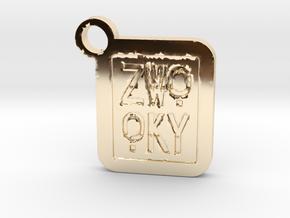 ZWOOKY Keyring LOGO 14 4cm 5mm negativ in 14K Yellow Gold