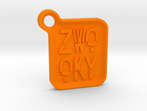 ZWOOKY Keyring LOGO 14 4cm 5mm rounded in Orange Processed Versatile Plastic
