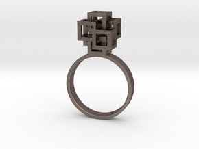 Quadro Ring - US 6 in Polished Bronzed Silver Steel