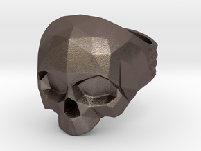 Polygonal Skull Ring  in Polished Bronzed Silver Steel