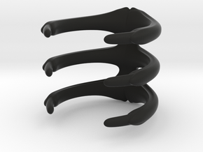 Para_Ring_3 Ribs in Black Natural Versatile Plastic