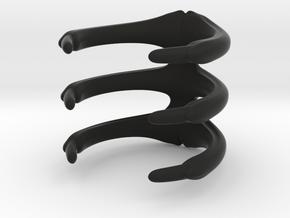 Para_Ring_3 Ribs in Black Natural Versatile Plastic