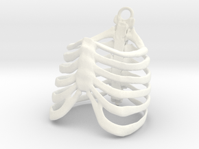 Ribcage Ring or Pendant - 19mm in White Processed Versatile Plastic