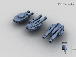 20 Starship twin turrets – MECHWORLD HOMEFLEET in Smooth Fine Detail Plastic