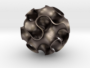 Small Gyroid in Polished Bronzed Silver Steel