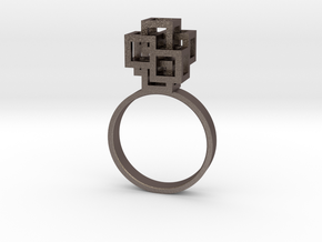 Quadro Ring - US 5 in Polished Bronzed Silver Steel