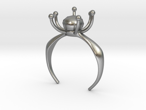 Flower Ring With Stone in Natural Silver