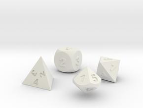 Dice Set in White Natural Versatile Plastic