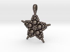 COSMIC STARFISH Designer Jewelry Pendant in Polished Bronzed Silver Steel
