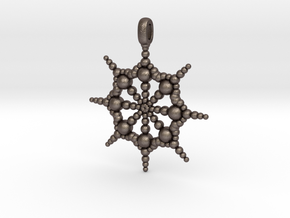 SPHERICAL FOCUS Designer Jewelry Pendant  in Polished Bronzed Silver Steel