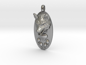 WOLF HEAD&PAWN Jewelry Pendant in Natural Silver