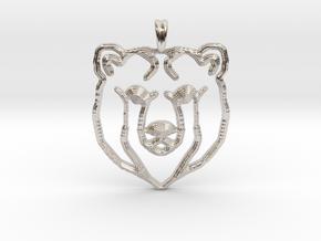BEAR TOTEM Jewelry Designer Pendant in Platinum