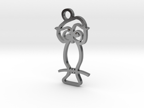 Wise Owl Pendant in Polished Silver