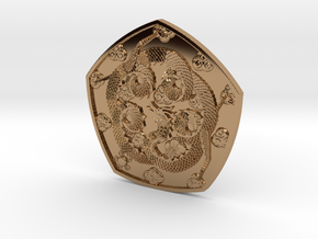 Polished Dragon Coin in Polished Brass