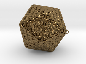 Christmas Tree Ornament Icosahedron Smaller in Natural Bronze