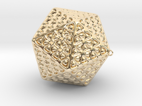 Christmas Tree Ornament Icosahedron Smaller in 14K Yellow Gold