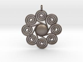 SPIRAL SUN Designer Jewelry Pendant in Polished Bronzed Silver Steel