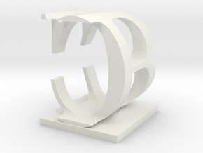 Two way letter / initial B&C in White Natural Versatile Plastic