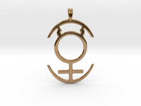 MERCURY PLANET Symbol Jewelry Pendant in Polished Brass