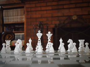 Typographical Chess Set in White Natural Versatile Plastic