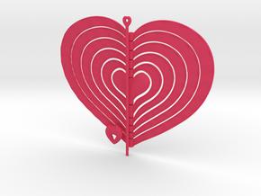 6 Heart Spinner Radial Waved - 15cm in Pink Processed Versatile Plastic