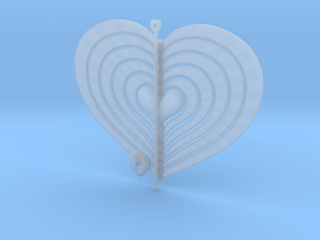 6 Heart Spinner Radial Waved - 15cm in Smooth Fine Detail Plastic