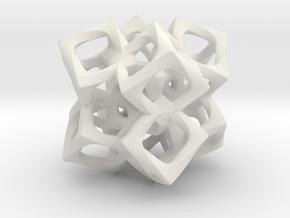 Fused Cubes 2 Smaller in White Natural Versatile Plastic