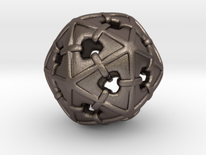 Wrapped Icosahedron in Polished Bronzed Silver Steel