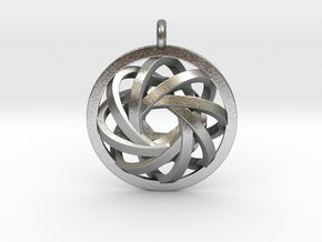 ATOM CORE Designer Jewelry Pendant in Natural Silver