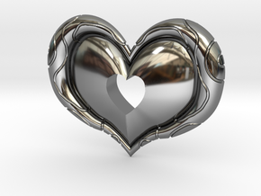 Twilight Princess Heart Piece Cut Out in Fine Detail Polished Silver