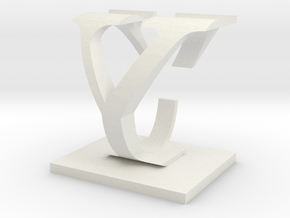 Two way letter / initial C&Y in White Natural Versatile Plastic