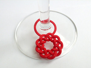 Wine Glass Tag - Braid in Red Processed Versatile Plastic