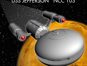 The USS Jefferson in White Strong & Flexible Polished
