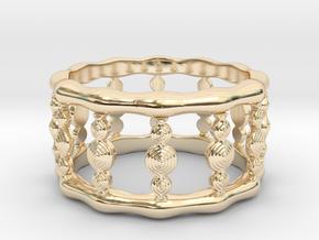 Designer COLUMN RING in Silver    Gold    Steel in 14K Yellow Gold