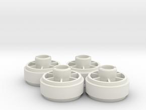 Mini-z NSR5229 20mm +4 Wheelset in White Natural Versatile Plastic