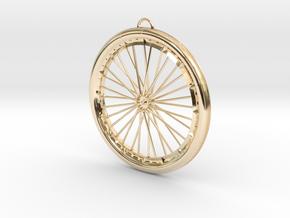 Custom bike bicycle wheel pendant  in 14K Yellow Gold