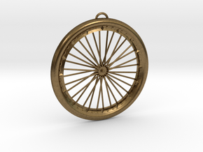 Bicycle Wheel Pendant Big in Natural Bronze