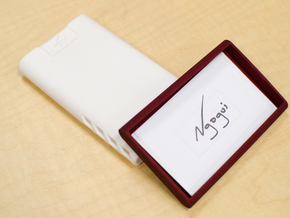 Clean Business Card Holder in White Strong & Flexible Polished