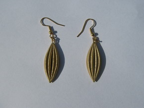 Four-Wave Earrings in Raw Brass