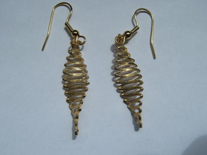 Twisted Curves 3 Earrings in Natural Bronze