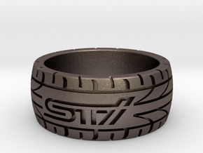 Subaru STI ring  - 16 mm (US size 5 1/2) in Polished Bronzed Silver Steel